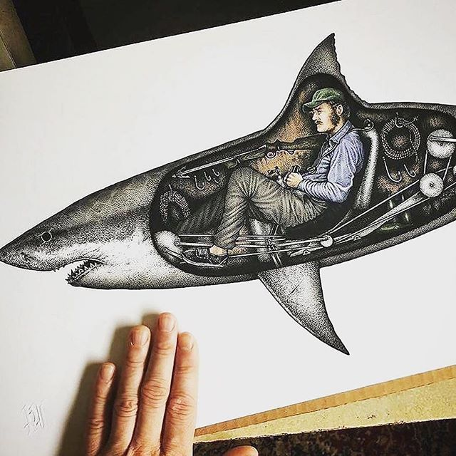 Name this famous character! 🦈 How awesome is this drawing?!?! Via @pauljacksonlives True Taxman via @taxmanshark #jaws