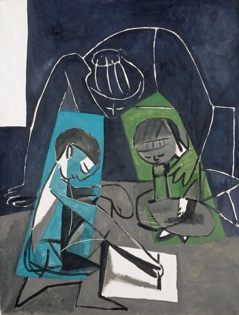 Claude dessinant, Françoise et Paloma (1954)