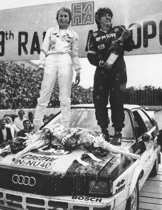 Michelle Mouton and Fabrizia pons celebrating on the hood of Audi Quattro Acropole 1982.jpg