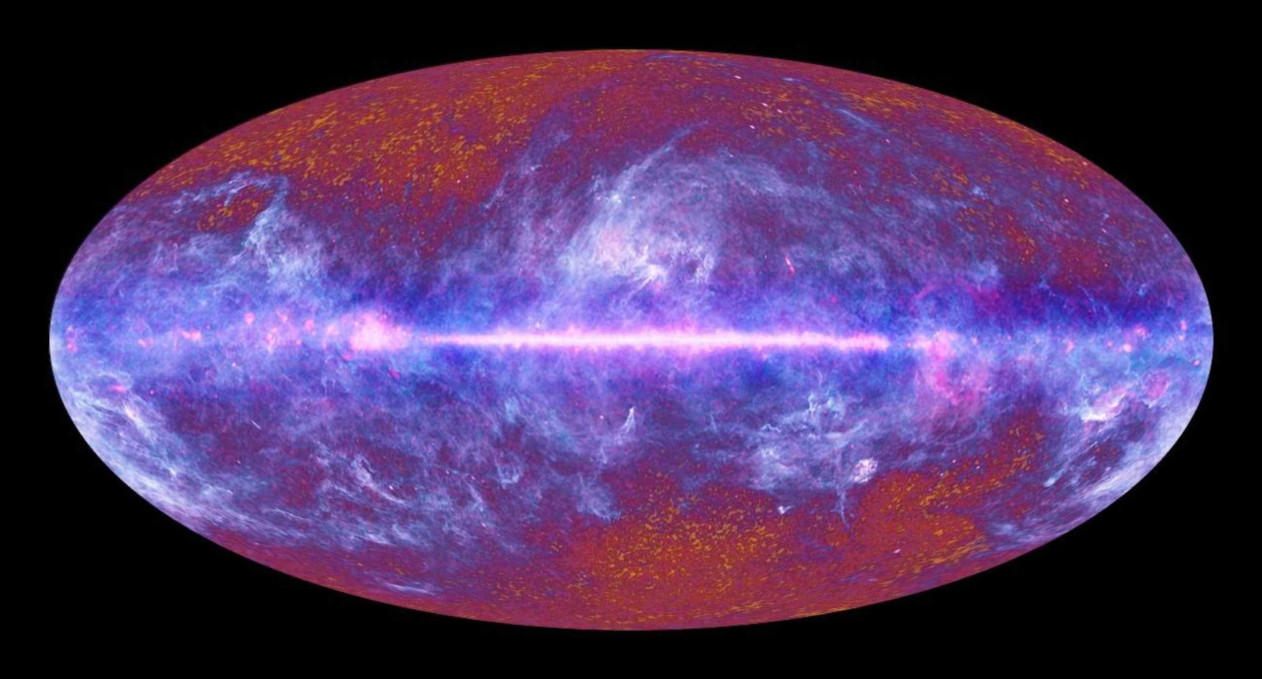 Vue d'artiste du fond diffus cosmologique, réalisée à partir des relevés photographiques du satellite Planck, 2010
