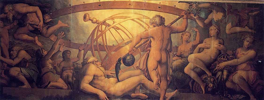 Giorgio Vasari,  Castration d'Uranus par Cronos , 1555-1557, Salle des Éléments du Palais Vieux, Florence