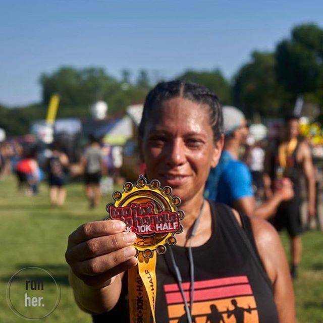 Nevertheless she persisted. 📸 @52visuals  #MedalMonday #10krun  #tohottoohandle #runners #imarunner #blackrunners  #blackfitness  #melaninfitness  #melaninmagic  #werundfw #wearerunher  #running  #RunHer