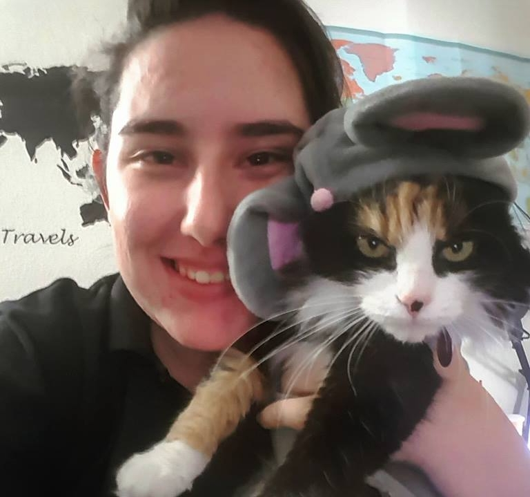 Demon Devs and her cat Snickers. Snickers regularly joins the Xbox Call of Duty Division practices on mic!