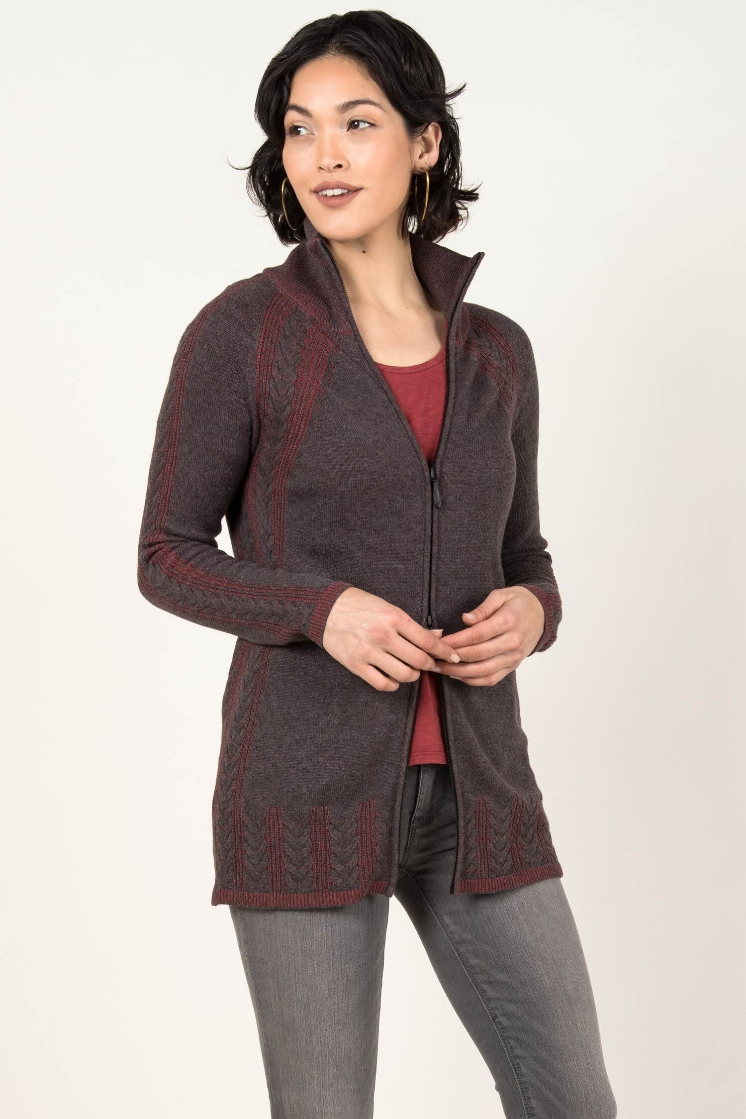 You may also like - Indigenous Designs Cable Zip Cardigan