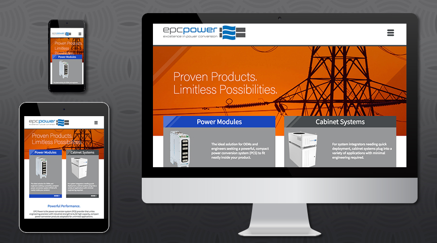 www.epcpower.com   Products Website for a California-based power conversion engineering company. The site featured a robust repository of all their product offerings including sell sheets and technical specifications. The site also included a blog and careers section with job listings and online application. A Silver Stripe content management system allowed for extensive customization while also giving the client complete freedom to make their own site updates.