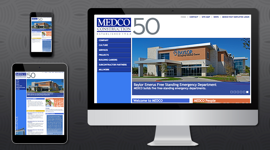 www.medcoconstruction.com   Services Website for this highly-acclaimed construction company based in Dallas, Texas. The site includes a searchable projects section and photo gallery, team directory, job listings and resume upload, forms repository for contractors, and substantial content for their service offerings.