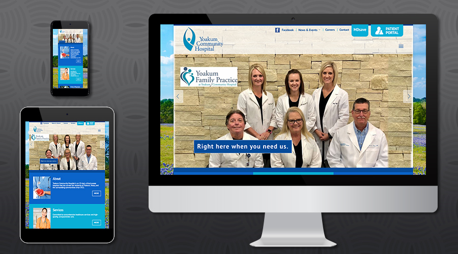 www.yoakumhospital.org   Services Website for a small community hospital in Yoakum, Texas. The site was built on the Wordpress platform, allowing the client to update content whenever required. Features include an events calendar, a blog, employment opportunities and application, physician directory, foundation donation tool, patient and visitor resources and detailed services section.