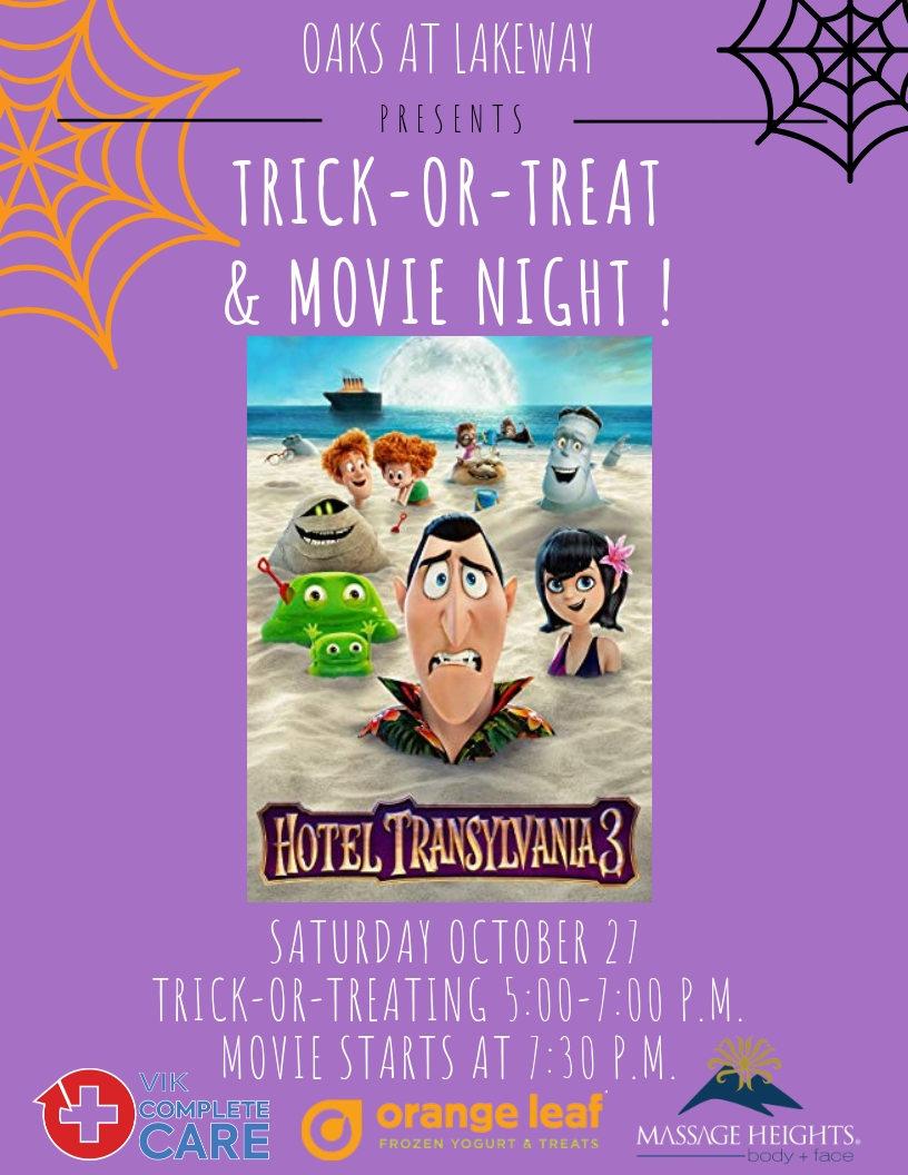 Monthly Family Events - Movie Night at the Oaks