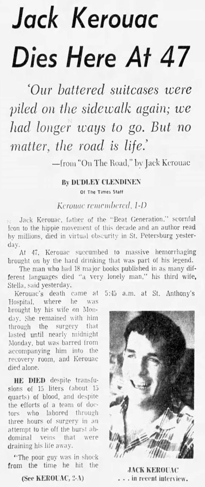 Nécrologie de Jack Kerouac dans le Tampa Bay Times , 22 oct 1969 (source : Newspapers.com)
