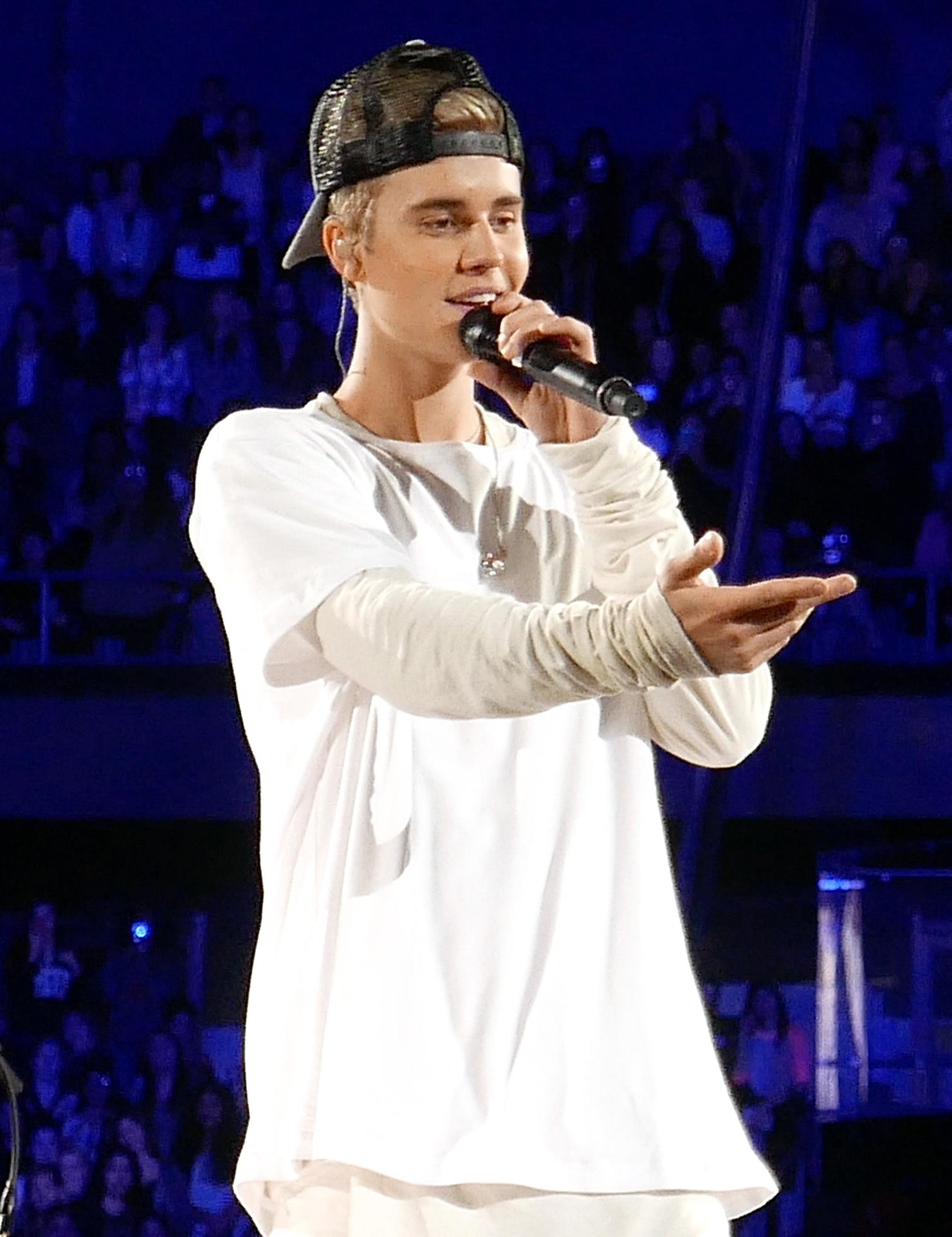 Justin Bieber en concert à Rosemont, dans l'Illinois en 2015  (photo par Lou Stejskal, Wikimedia Commons)