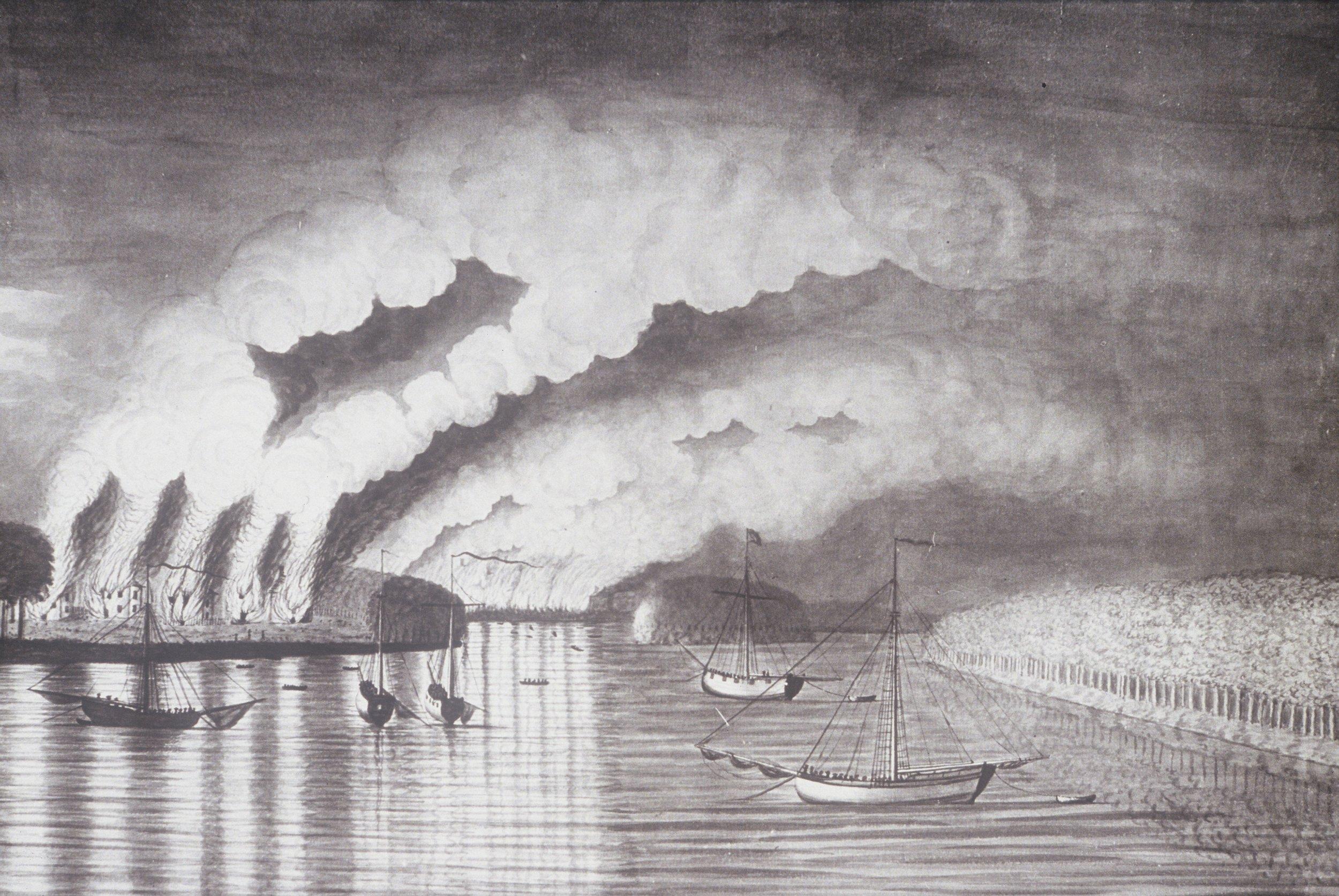 Vue du pillage et de l'incendie de la ville de Grimross  [aujourd'hui Gagetown, N.B.], aquarelle de 1758 par Thomas Davies, Musée des beaux-arts du Canada.