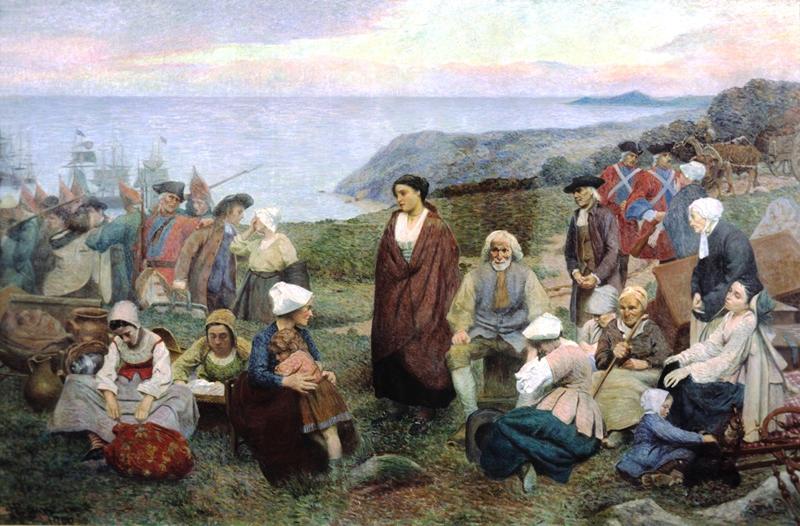 La déportation des acadiens , peinture de 1900 par Henri Beau, ameriquefrancaise.org.