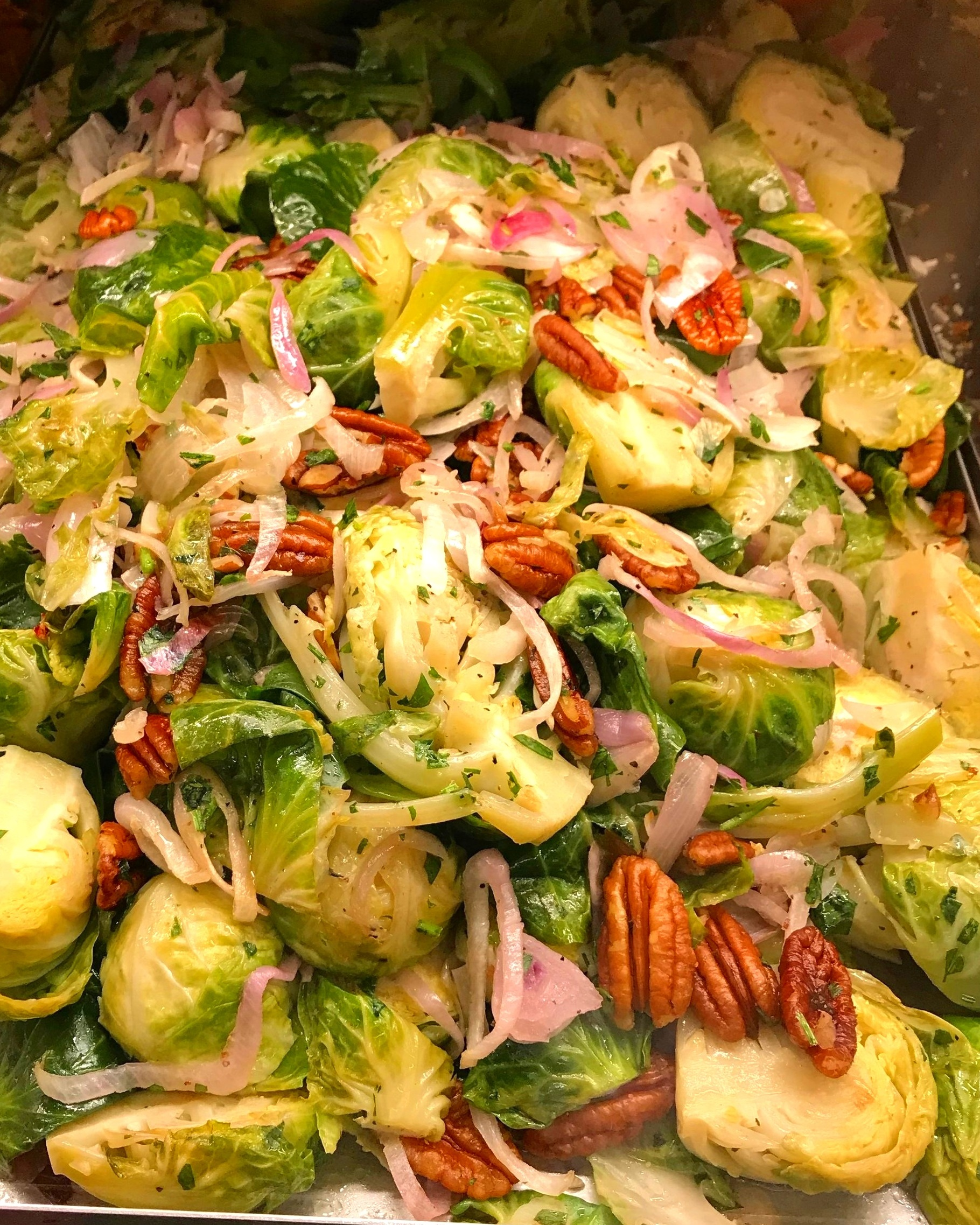 Once I committed to a plant-based kitchen, I've never looked back—Roasted Brussels Sprouts with pickled onions and pecans is a main course in our home now. (And yes! my hubby has gone right along with it).