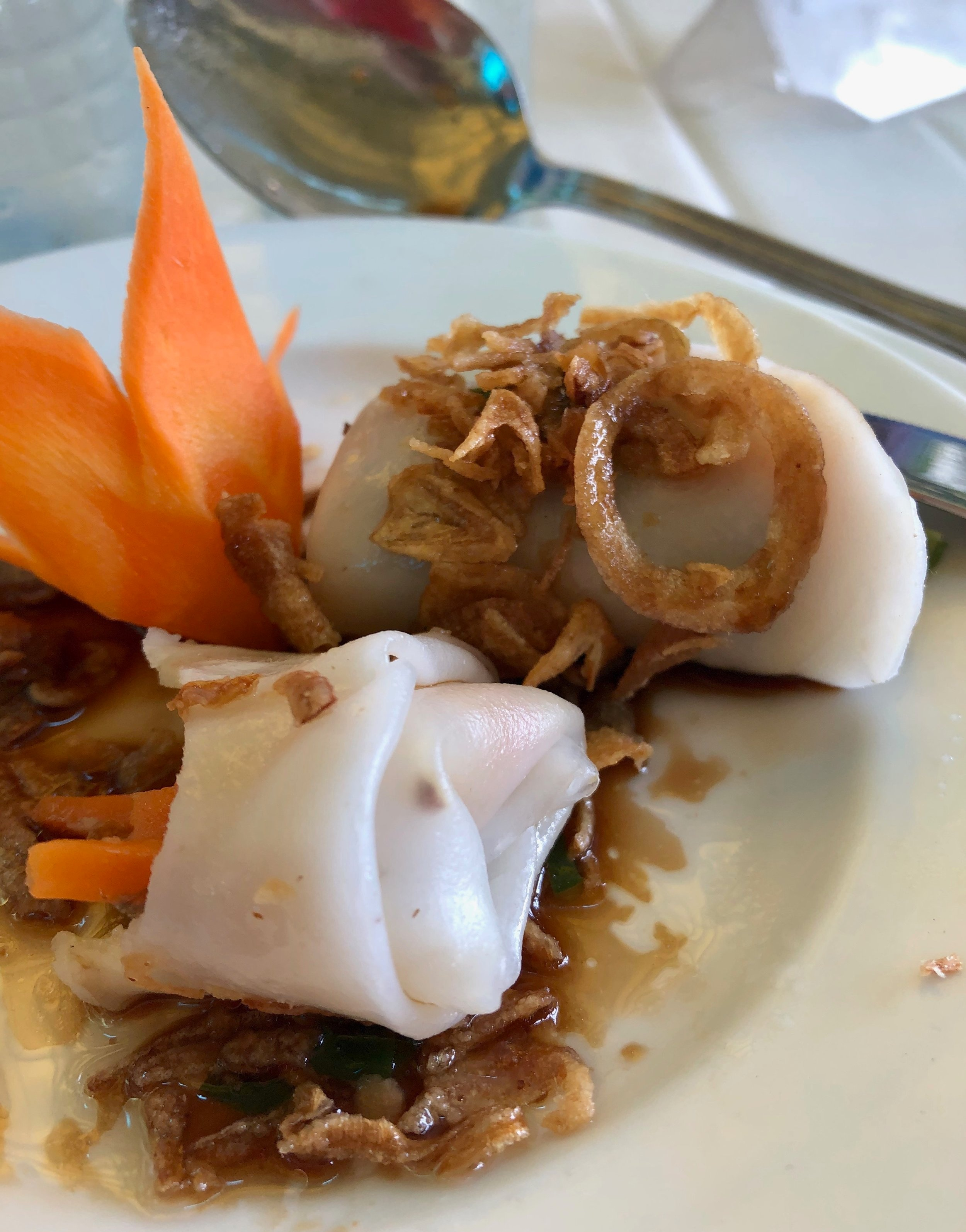 These spring rolls were my favorite style—a bit doughier than average with a fried shallot sauce.