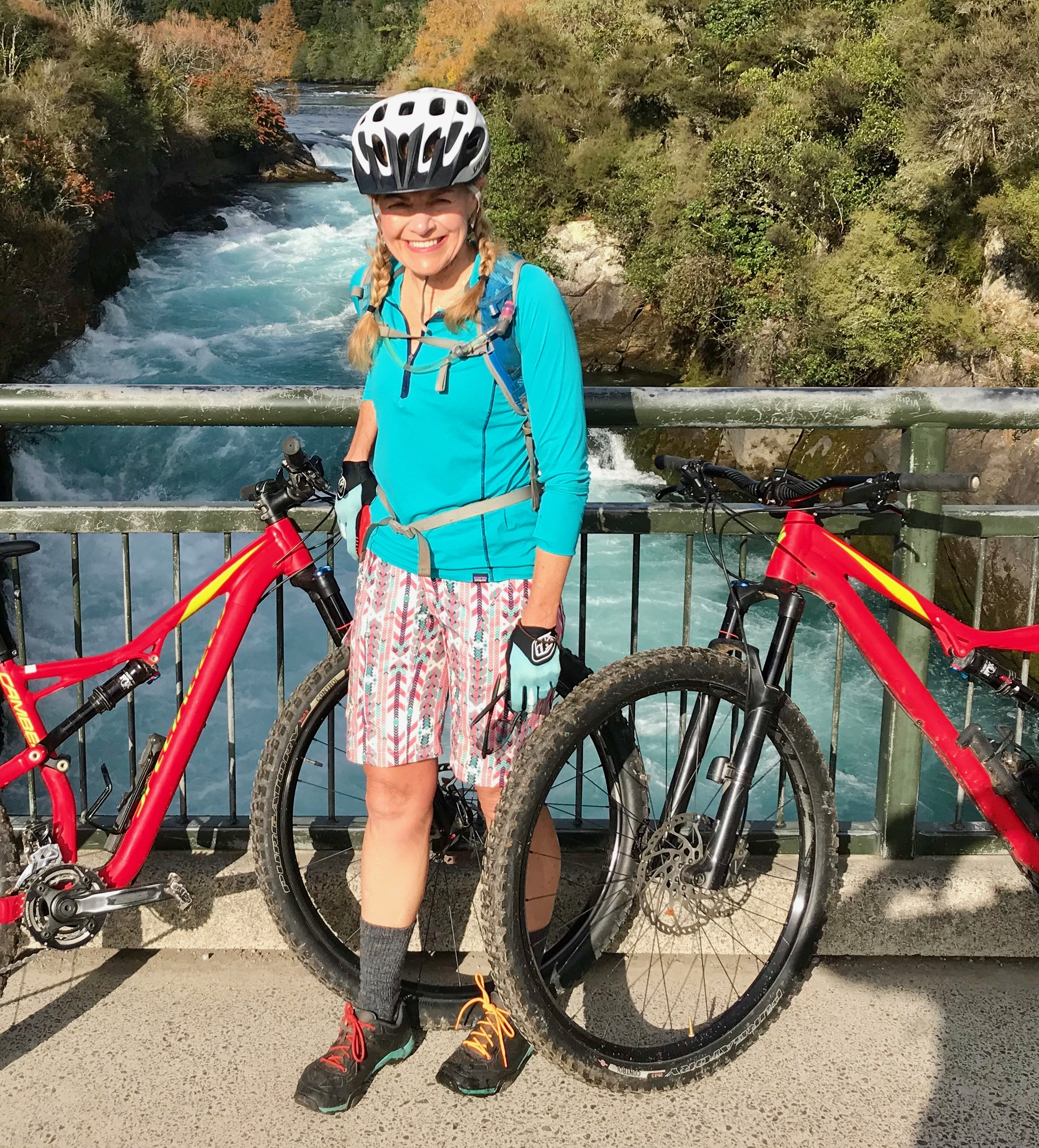 The famous Huka Falls are in the background, Craters of the Moon bike park in Lake Taupo is a purpose-built bike park with one purpose: to provide a super fun day riding singletrack!