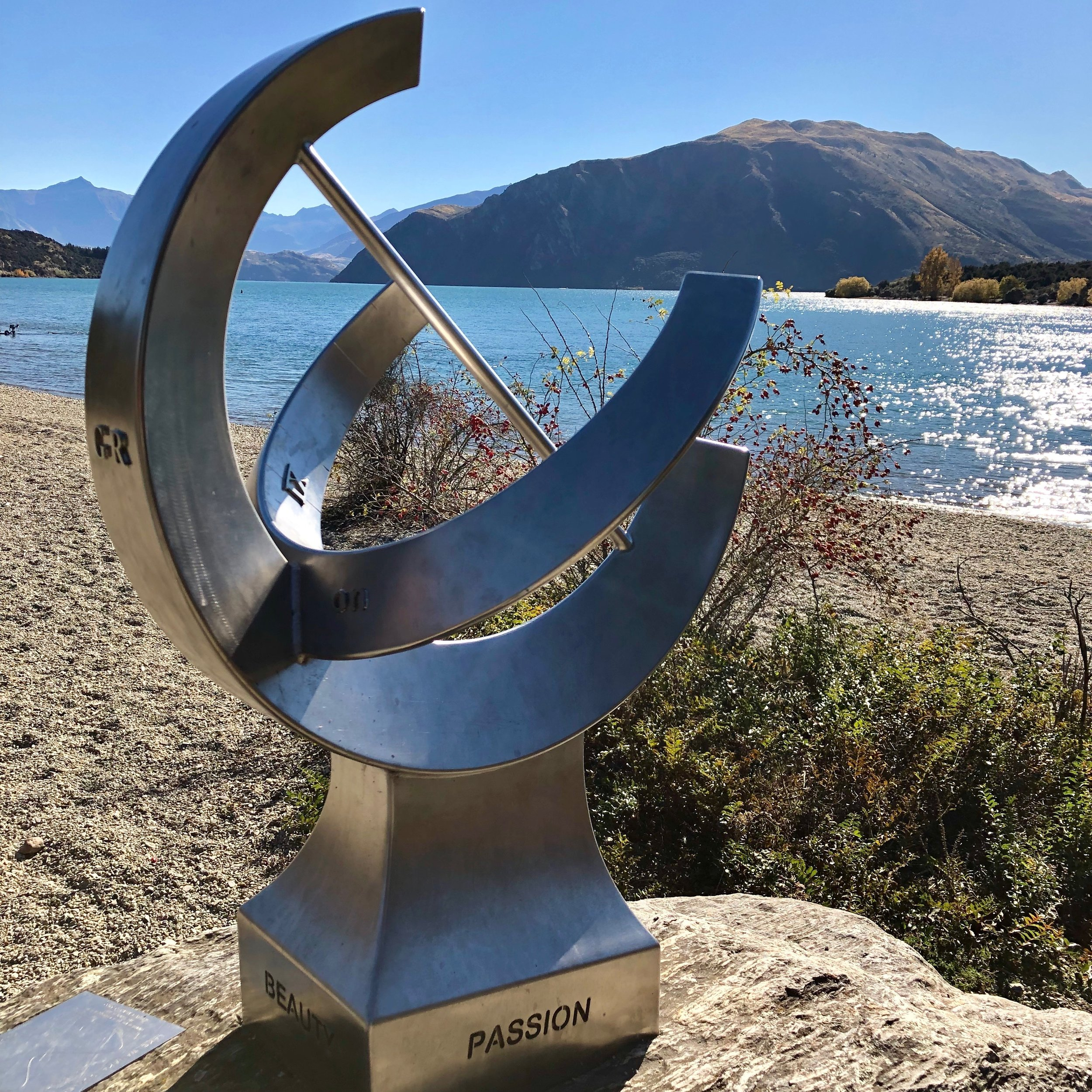 This beautiful sculpture on the Dean's Bank trail reads 'beauty, passion, love, laughter' which pretty nicely sums up our love affair with New Zealand.