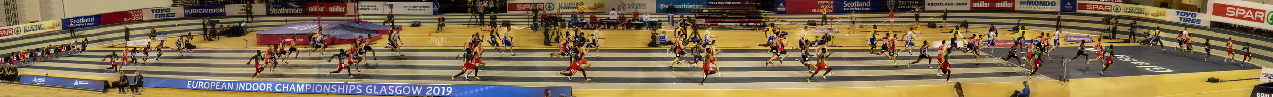 Mens 60m Heat 4 at the European Indoor Athletics Championships in Glasgow