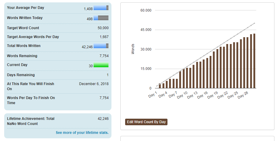 My stats on the final day of NaNoWriMo!