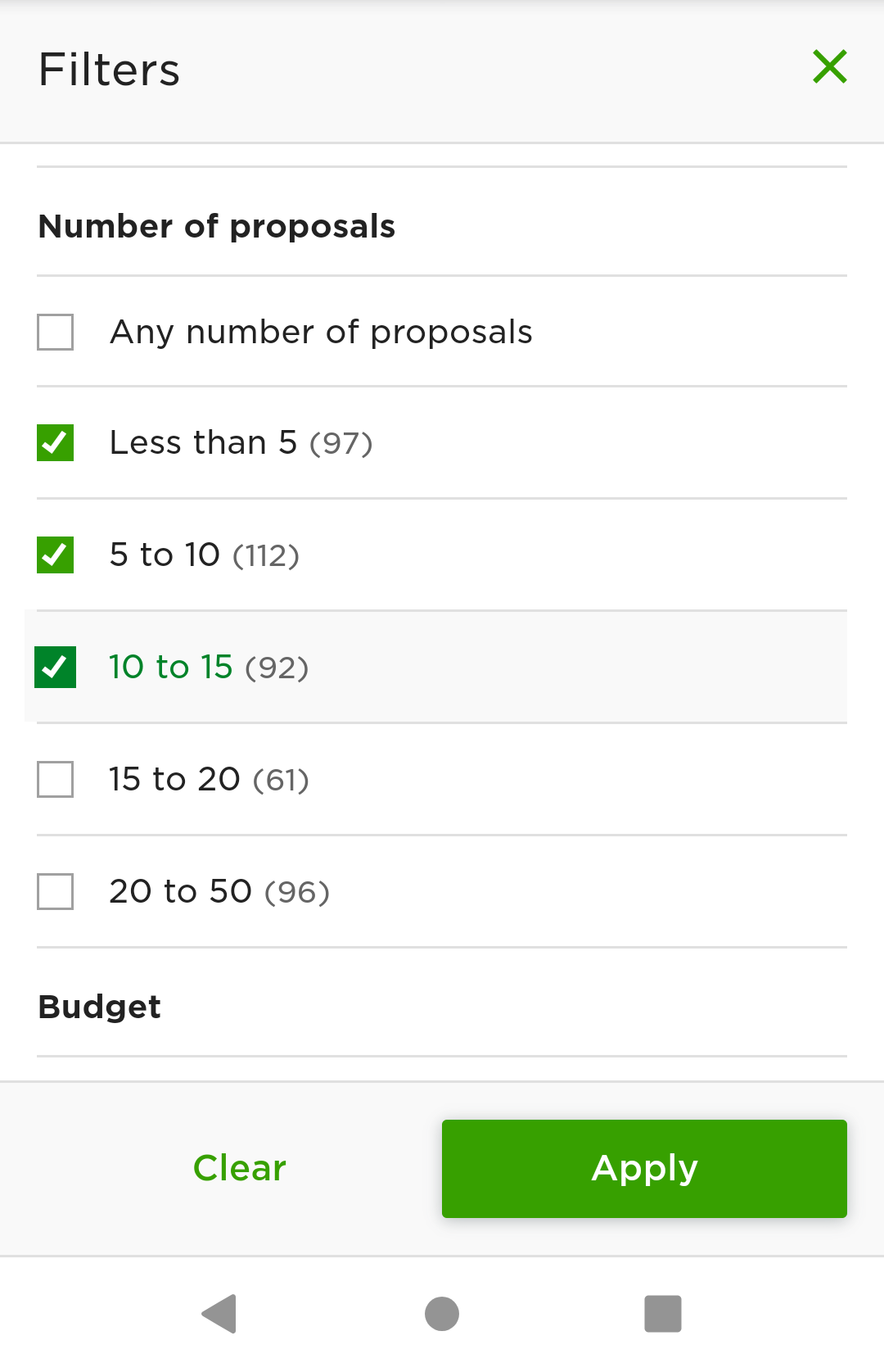 You can filter your results by number of proposals to make sure you have a shot at getting a job before you apply.