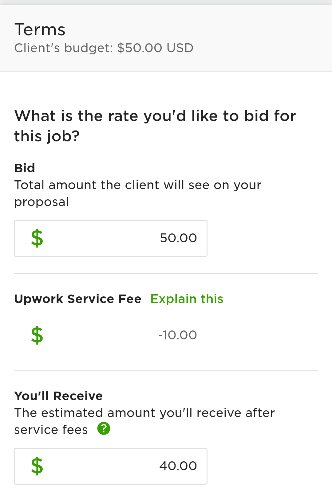 You can bid a different amount than what the client has listed, but I've generally left the bid at the client's rate. I don't want to ask for more because I'm a beginner, and I don't want to ask for less because Upwork jobs are already pretty low-paid.