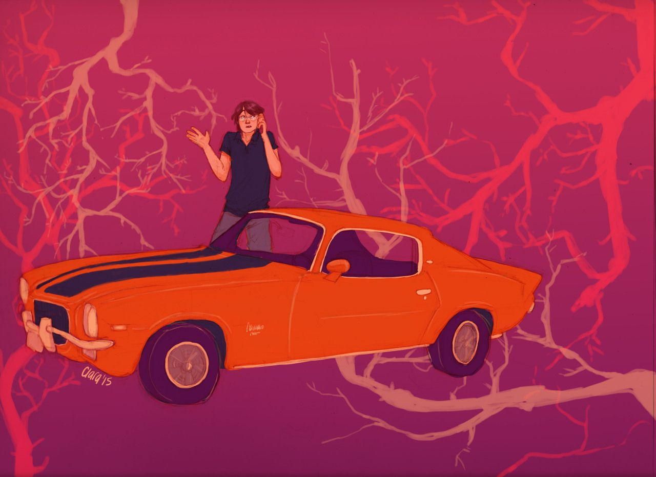 Gansey and his orange Camaro by Hatepotion (Tumblr)