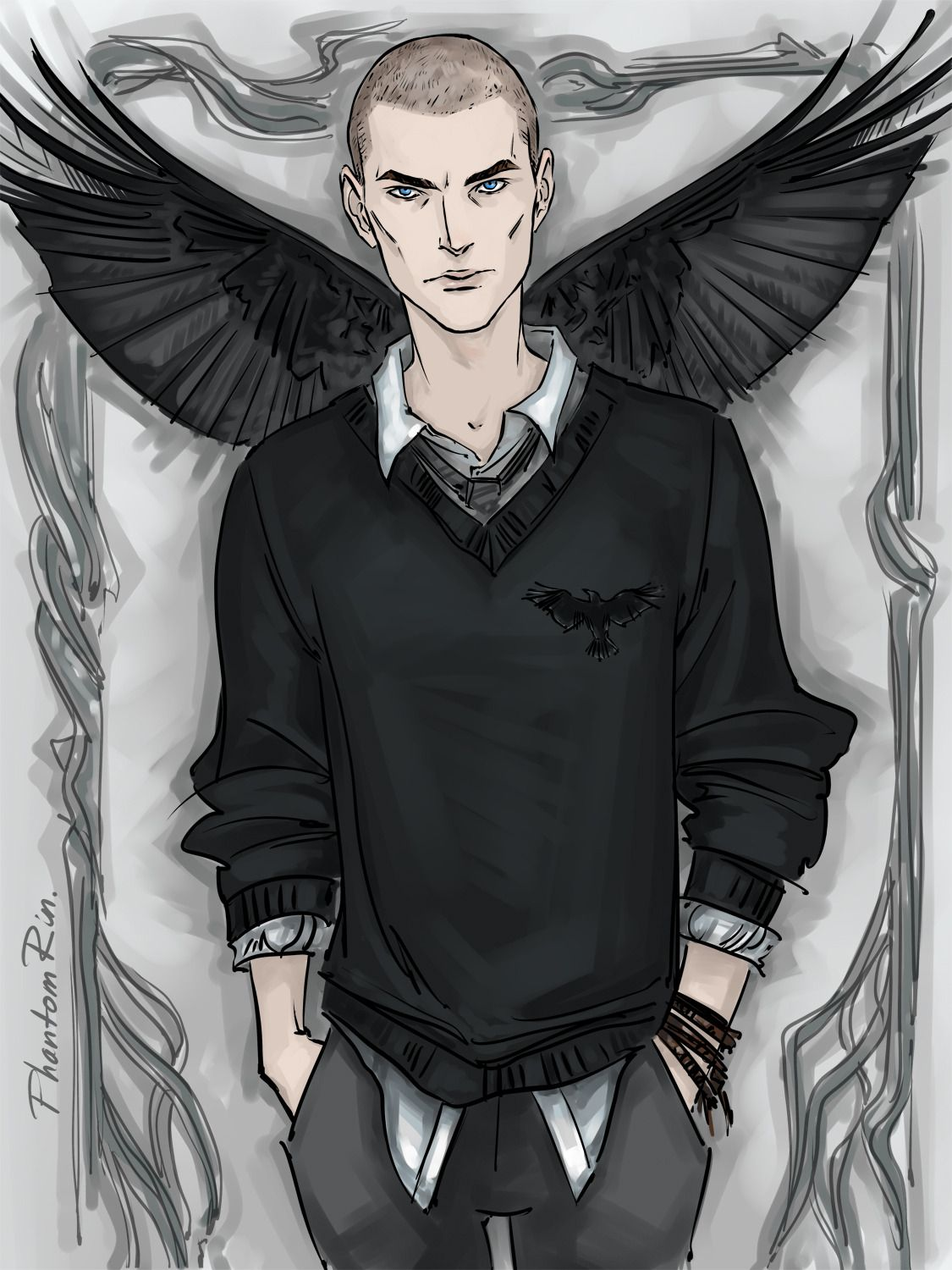 Ronan with raven wings by Phantom Rin (Tumblr)