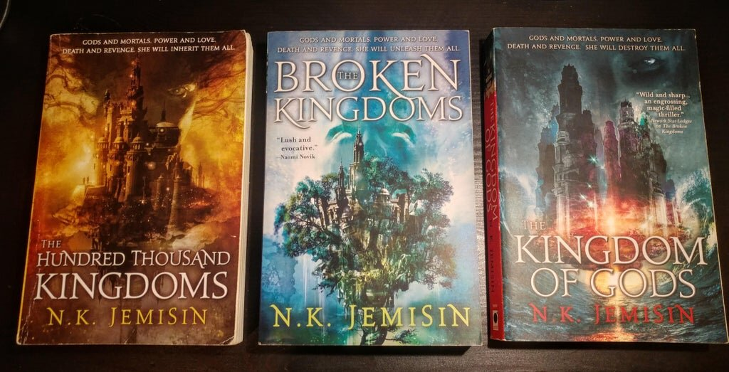 All three books in  The Inheritance Trilogy  by N. K. Jemisin.