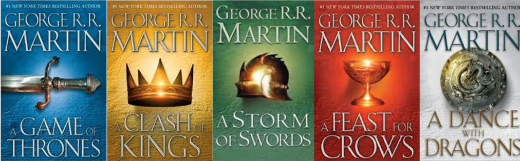 The first five books of the  A Song of Ice and Fire  series, which the HBO series was based on.