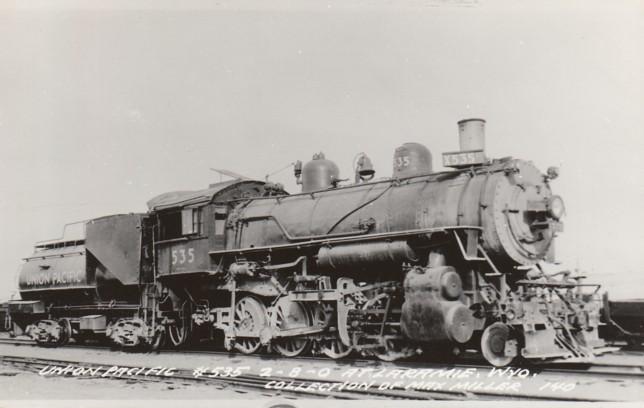 UP 535 in Laramie, 1950s.