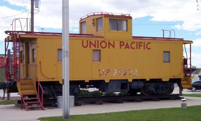 Union Pacific caboose 25232 - office and quarters for the train crew.  Presently on S. 3rd St. near I-80.