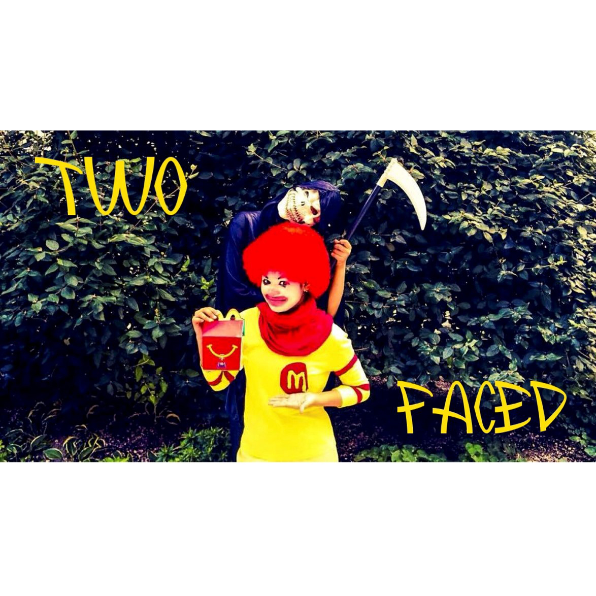"Image developed by Youth Food Educators students for their campaign ""Two Faced' which exposed the two sides of Ronald McDonald--the happy, friendly, clown, and the deceptive, scary grim reaper that encourages children to eat unhealthy McDonalds."