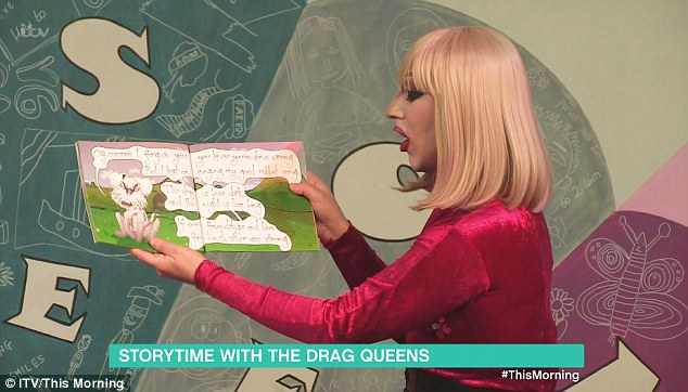 Parents hail 'drag queen story time' in primary schools as a 'really brilliant idea' to teach children about gender identity– but what do YOU think? - Parents have praised a school programme that invites drag queens to read books to children after it was featured on This Morning today.The Drag Queen Story Time group is made up of men in drag who travel to schools and speak to the children in a bid to teach them about gender identity.