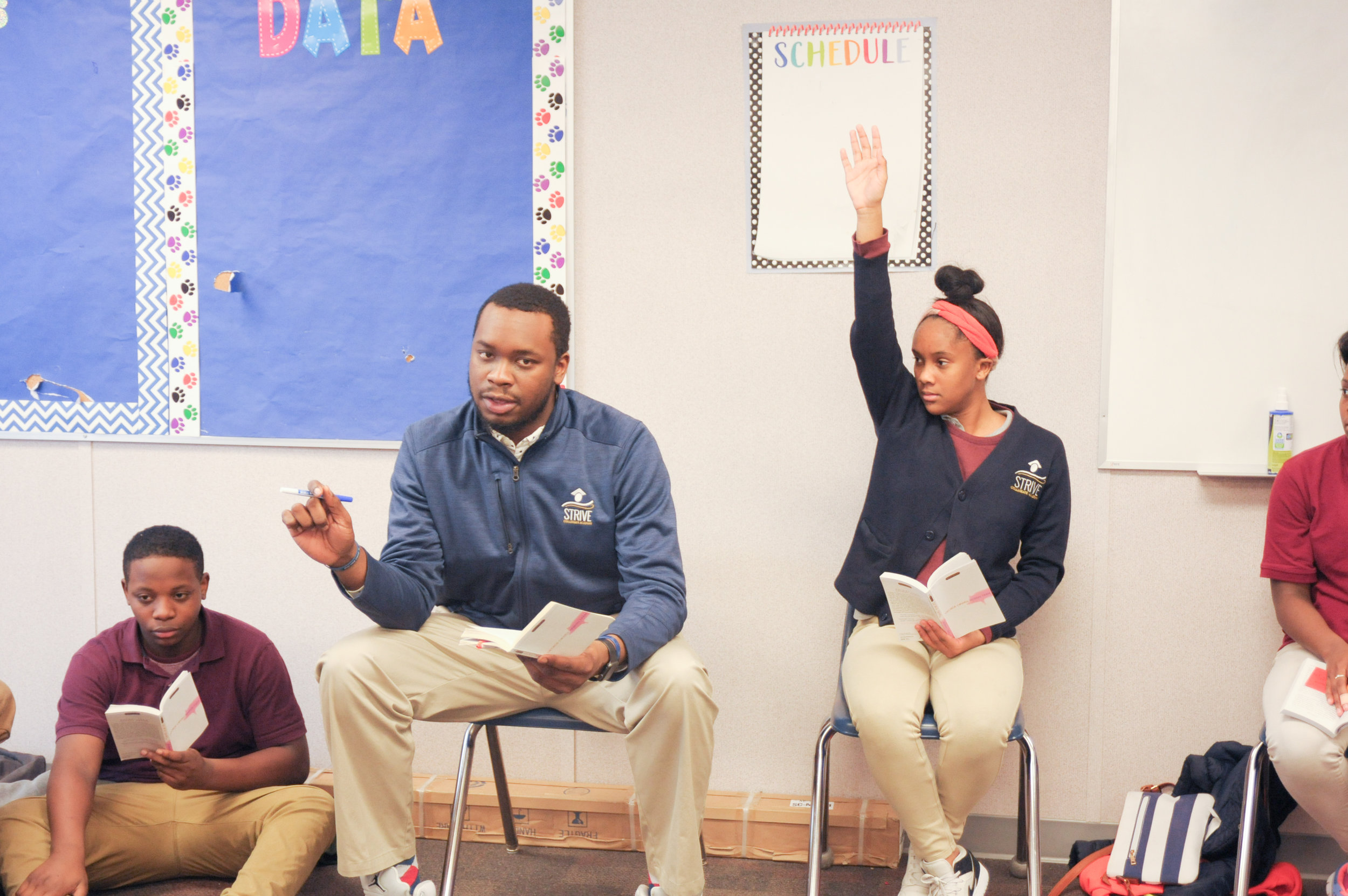 Students discuss their reading at STRIVE Collegiate Academy.