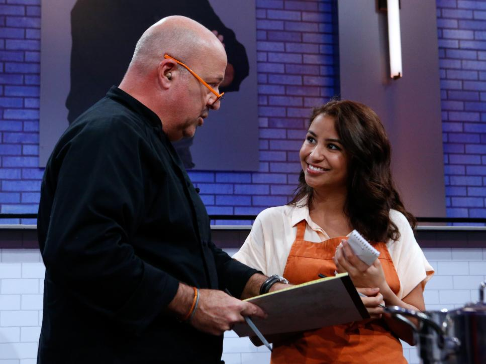 Zoe Kelly with mentor Andrew Zimmern on All Star Academy Season 2.