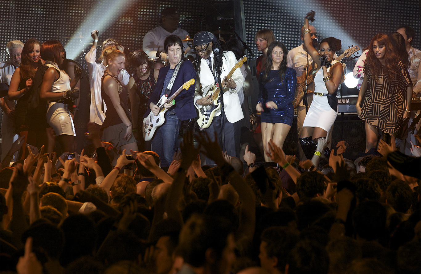 Johnny Marr formally The Smiths performs with Nile Rodgers of Chic, Warehouse Project. Manchester