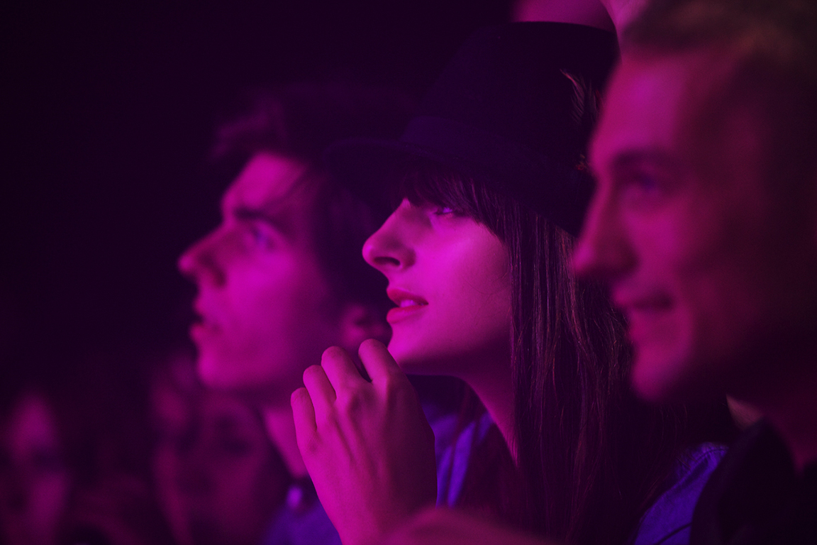 Music lovers gaze on at the stage. Warehouse Project. Manchester