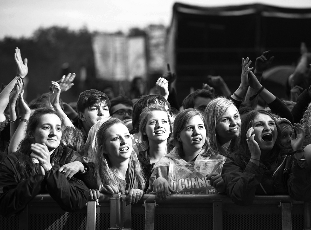 Young fans watch on at Katy B performing. Parklife Festival. Manchester