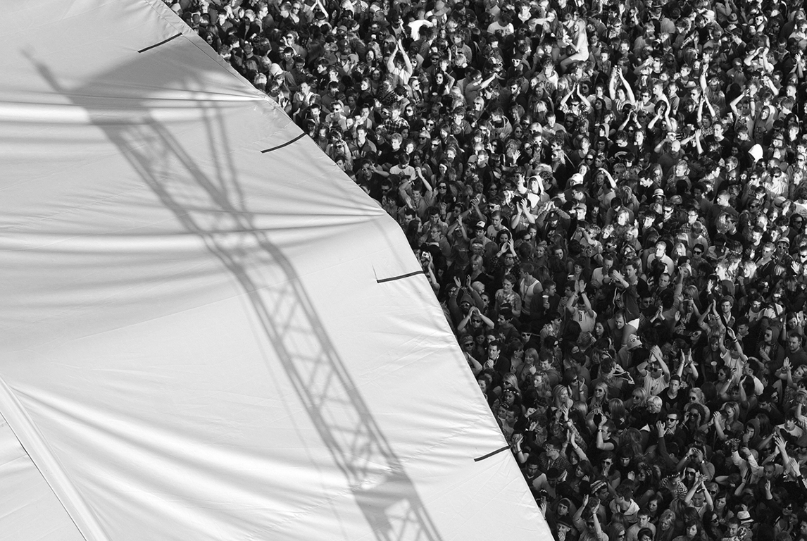 Life Before Drones - Fans watch on at the main stage as i am stood on a cherry picker. Parklife Festival. Manchester