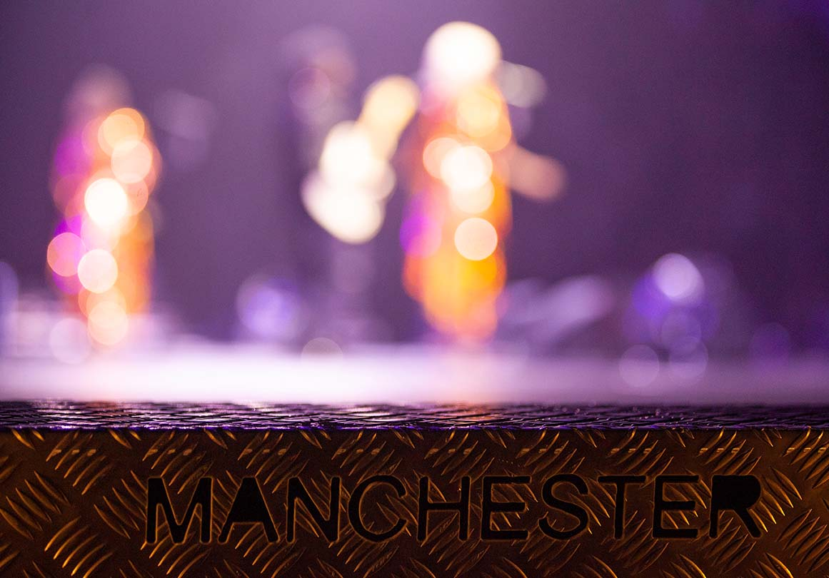 Folami, Nile Rodgers and Kimberley David perform on stage with Chic at the Arena. Manchester