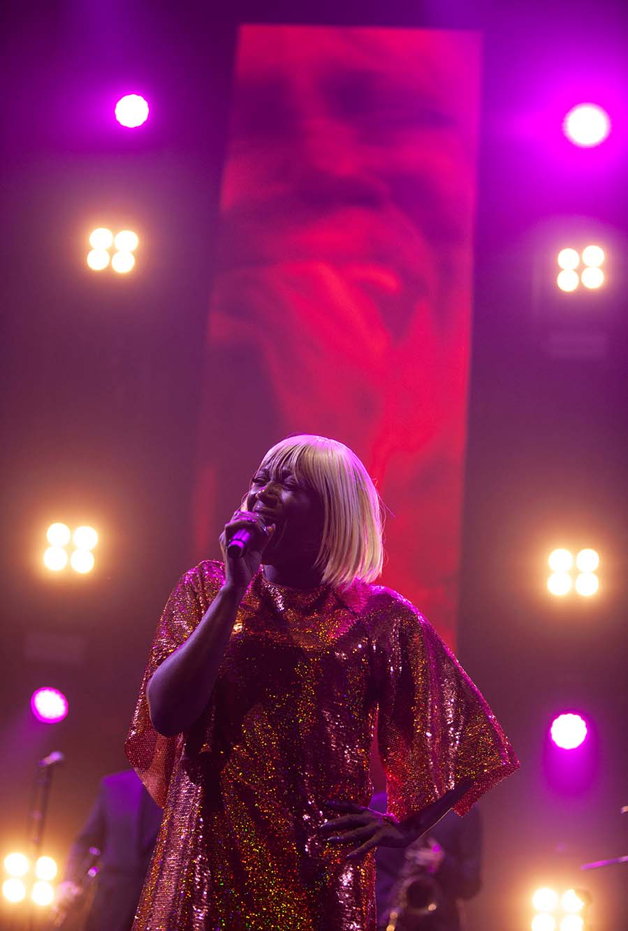 Kimberley Davis performs with Chic on stage. Arena, Manchester