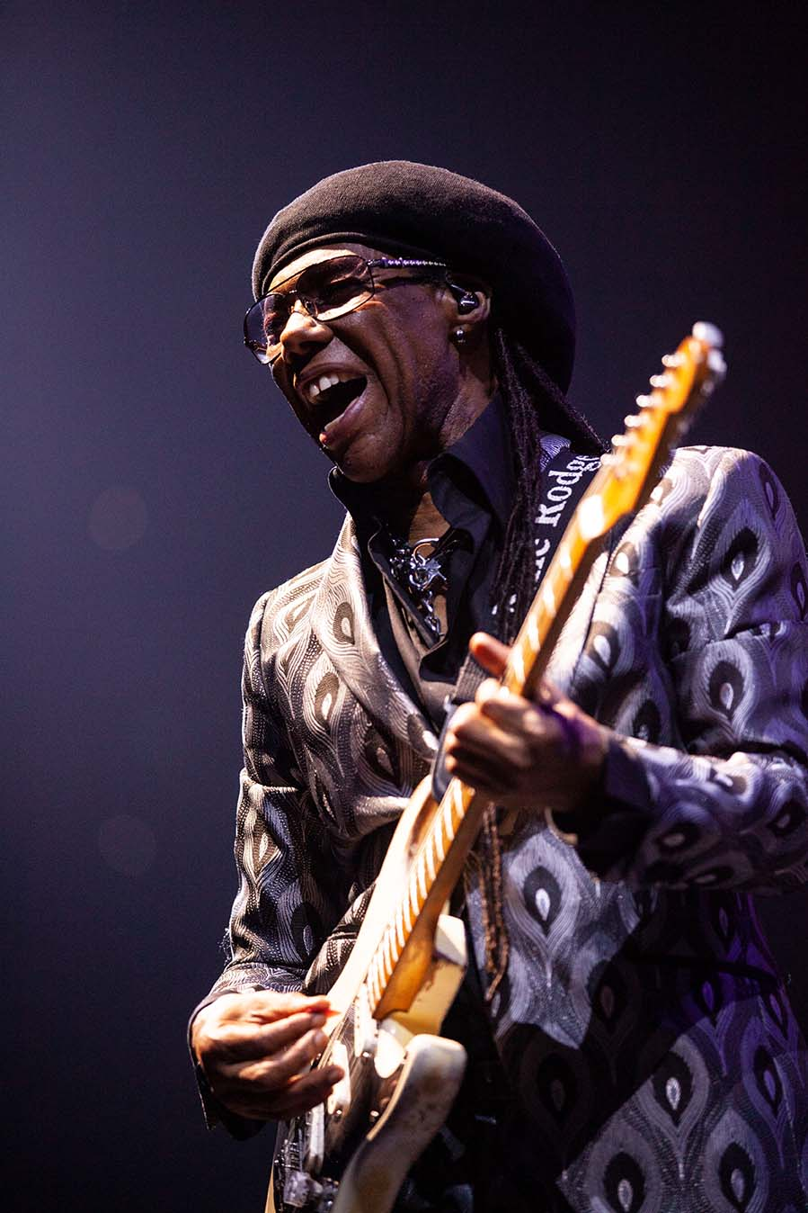 Nile Rodgers of Chic performs on stage on the It's About Time European Tour. O2 London
