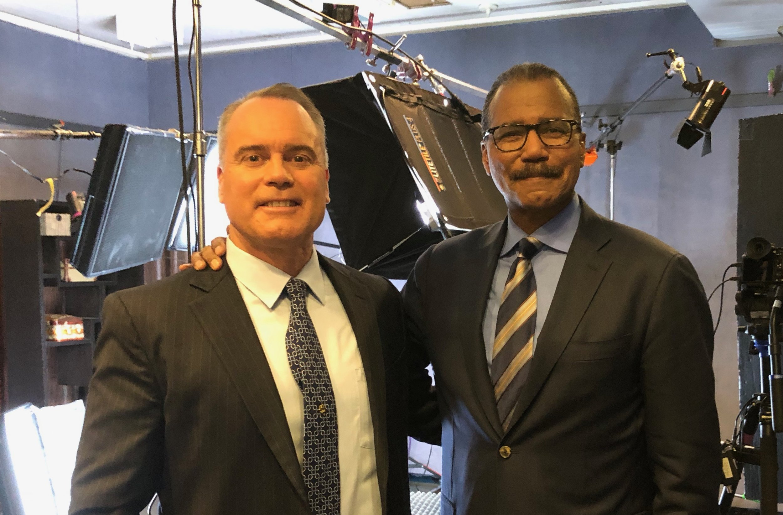 interviewed by 60 minutes - Bill Whitaker interviews Dr. Mulvaney on his ground-breaking medical research, seen here on the set of 60 Minutes in Manhattan.