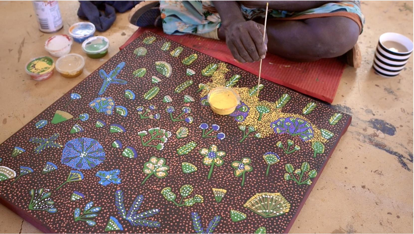Rosie Ngwarraye Ross painting. Photo: Lara Damiani.