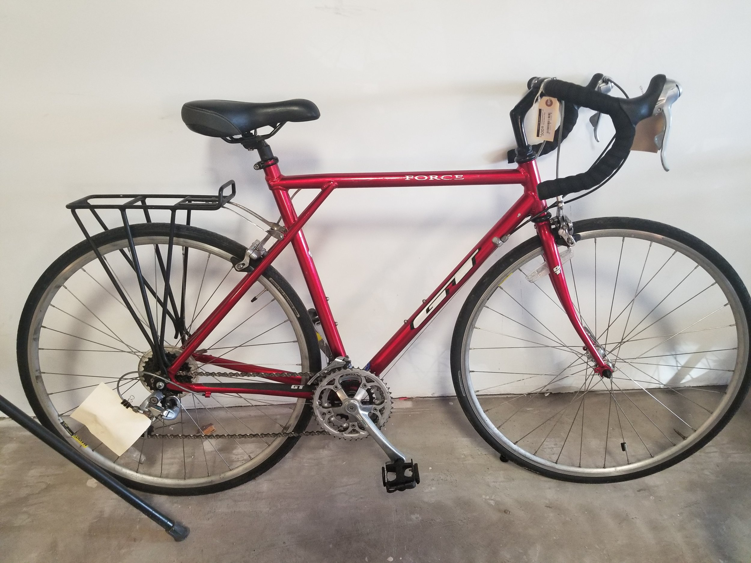 gt force road bike 54cm - Consignment bike. Tuned-up and new bar tape. Includes rear rack. STI shifters and 2x8 drivetrain.$450 (was %4