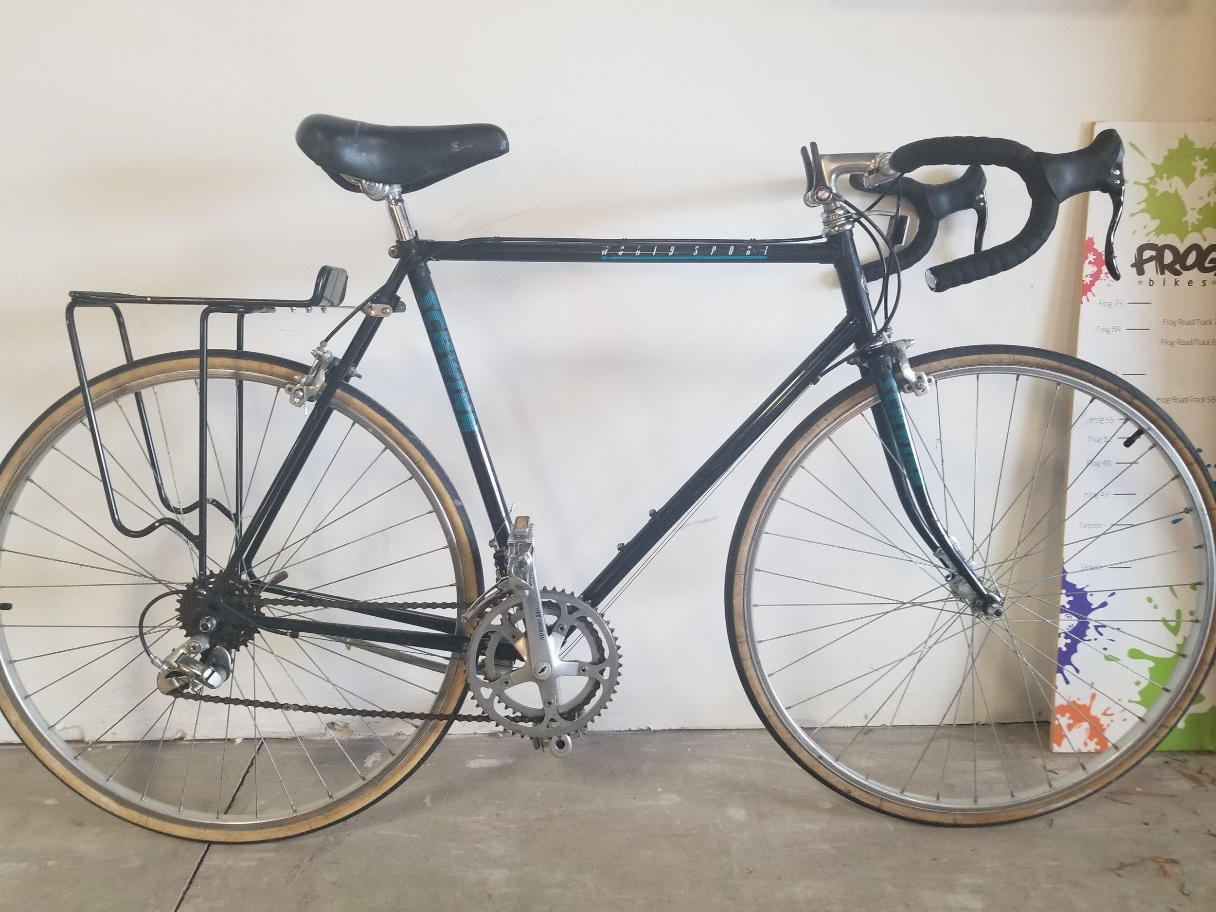 schwinn worldsport road bike 60cm - Used bike. Tune-Up. 2x6 drivetrain. Includes rear rack. 60cm.Great starter commuter bike!$150