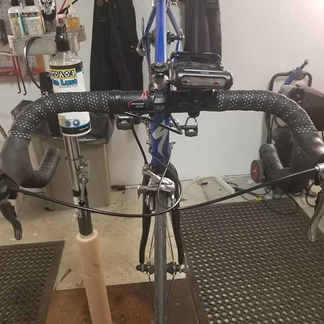 Loving this Planet Bike reflective bar tape on this bike I just tuned up and replaced with a new shifter.  Swipe to see the reflective action! . #planetbike #bikerepair #springiscoming #safety