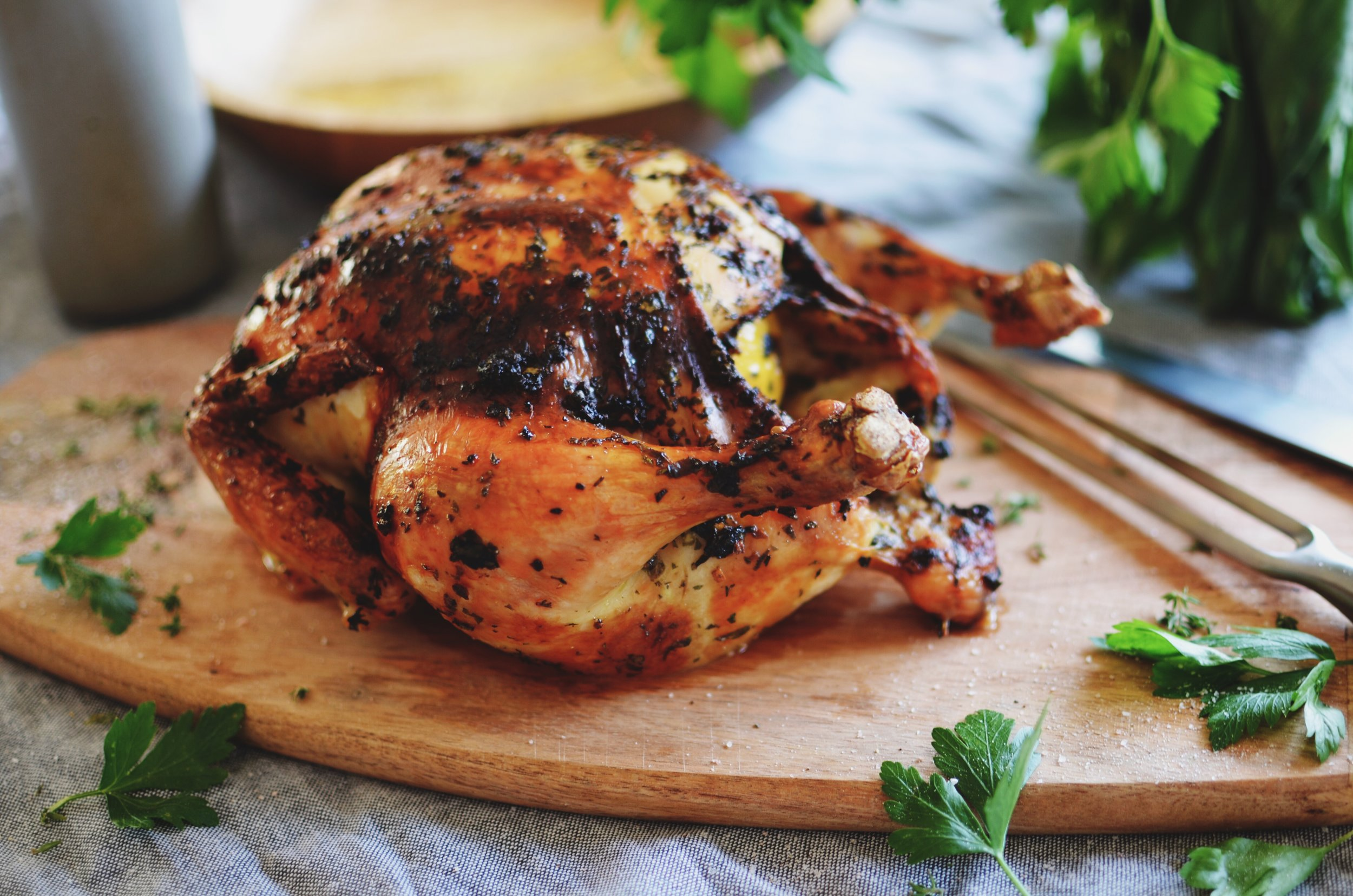 Then a little roast chicken - It's not as intimidating as you might think. Chickens have been cooked one way or another, dating all the way back to 400 B.C.E in Israel where it's thought chickens were first ever kept for food.