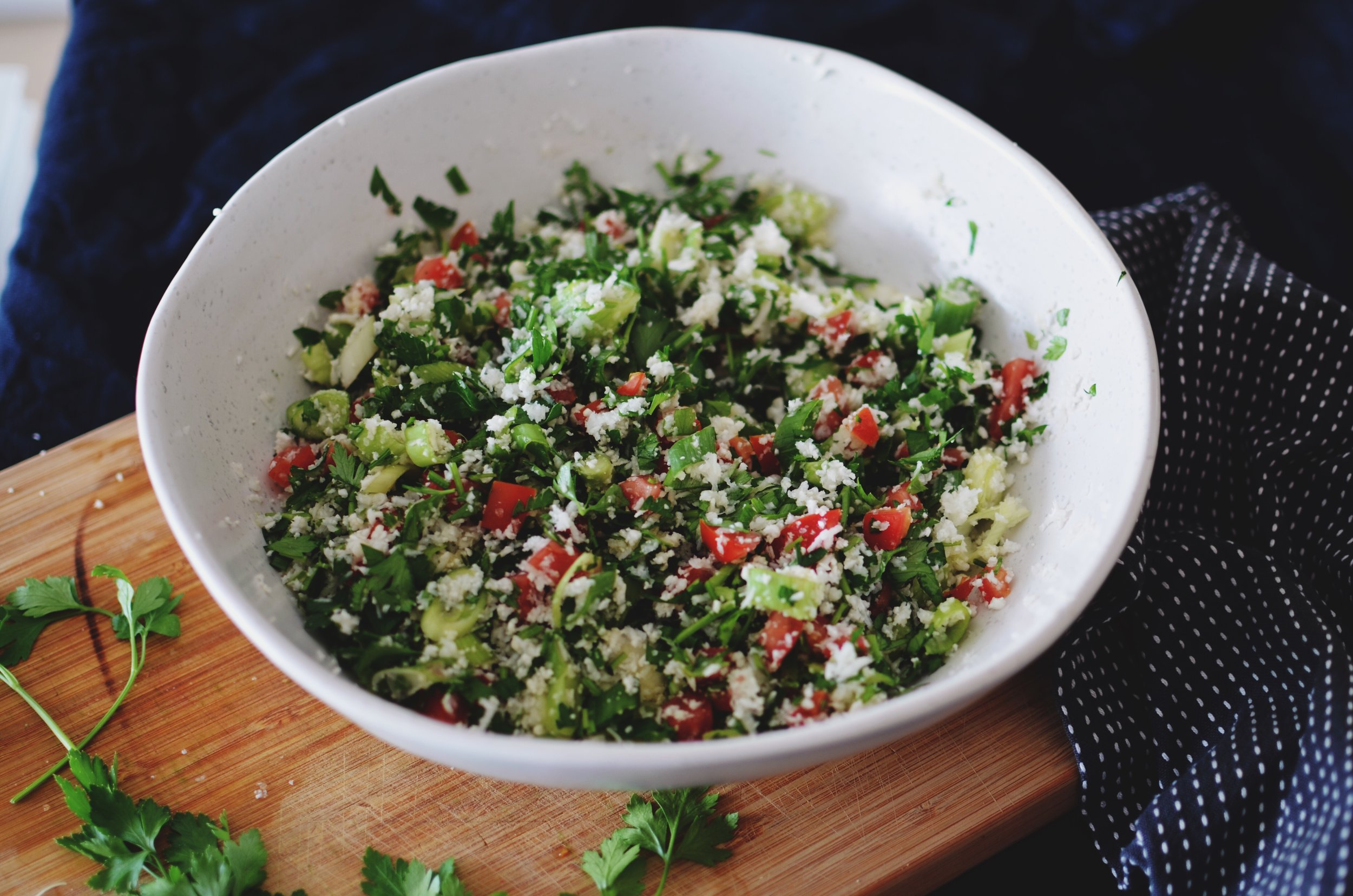 With a fresh side of TABBOULEH - Tabbouleh is a fresh vegetarian salad using parsley as the base ingredient. The first tabbouleh recipes originated in Lebanon and Syria.