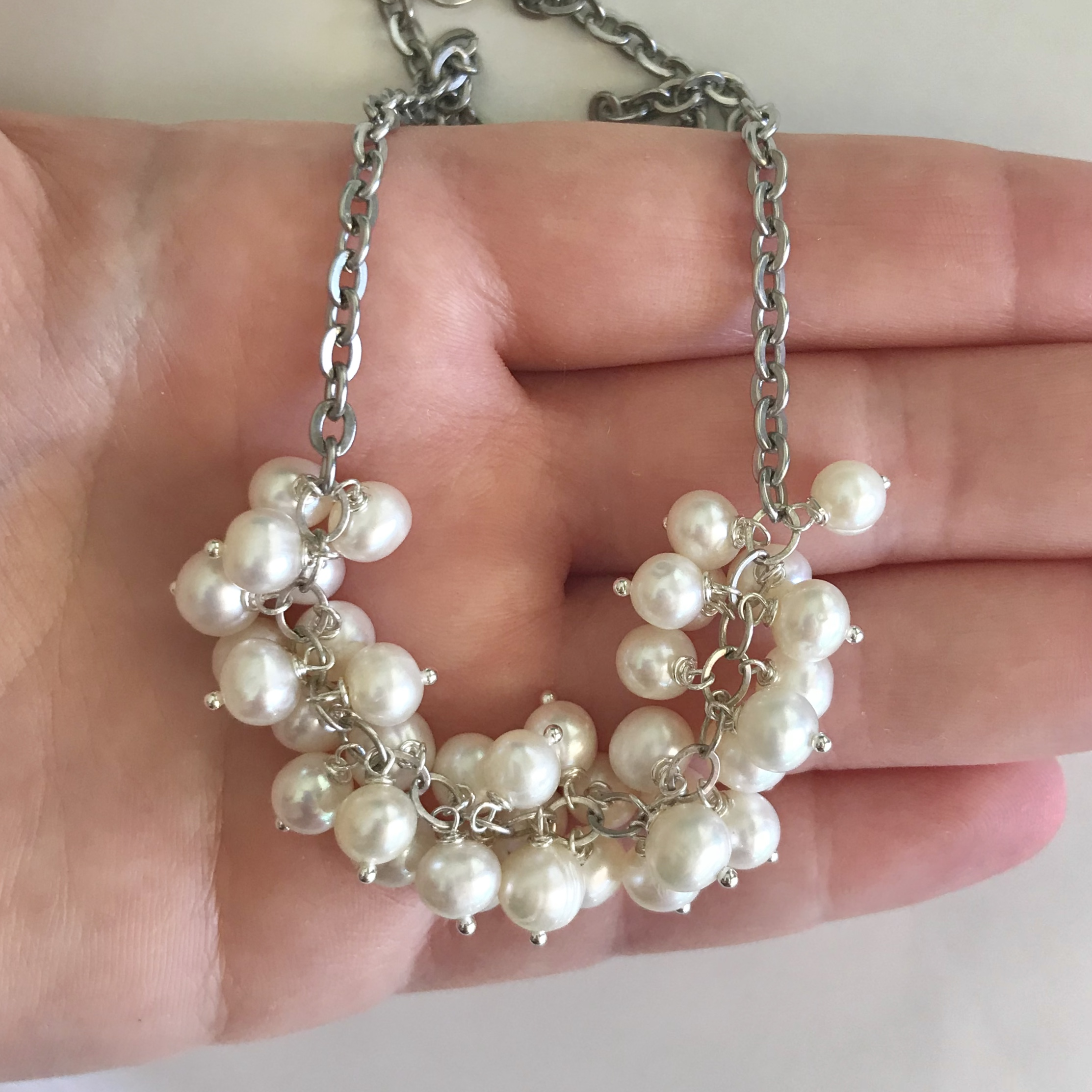 Freshwater Pearls - Cultured white freshwater pearls are common in our designs too. Each is slightly different in shape since they are from nature.