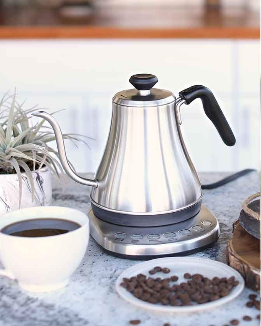 Electric Gooseneck Kettle with Temperature Presets $74.99  Preset temperature controls, fast heating time, and excellent pour control make this durable kettle our recommendation. Every purchase supports a US Armed Forces veteran small business owner.
